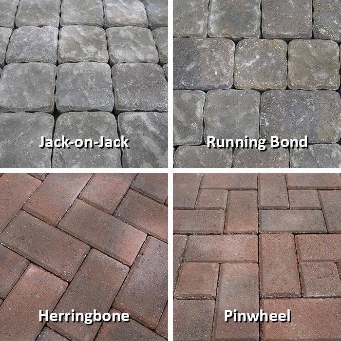 paver stones jack-on-jack, running bond, herringbone and pinwheel paver patterns. BNDYKSL