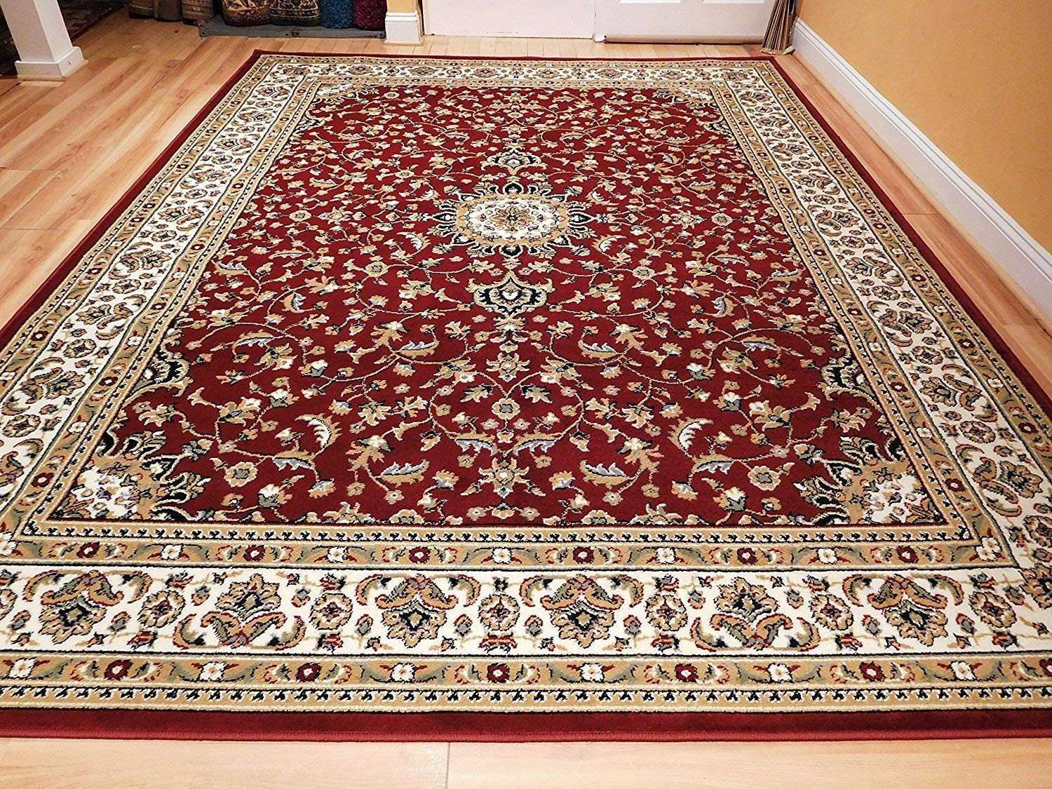persian rugs amazon.com: large 5x8 red cream beige black isfahan area rug oriental WHNUHMR