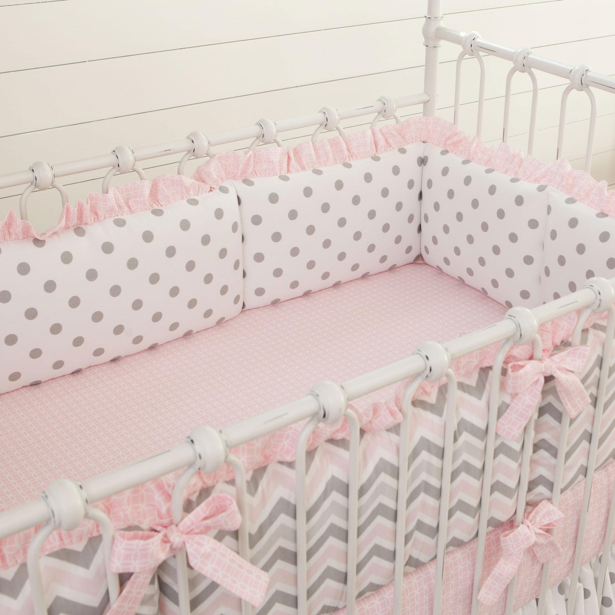 pink and gray chevron crib bumper | carousel designs NZSFXNY
