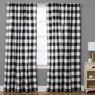 plaid curtains plaid and check semi-sheer rod pocket single curtain panel AMANSHO