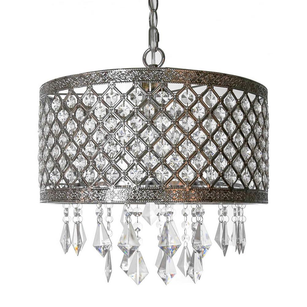 plug in chandelier 1-light silver and crystal chandelier with lattice shade VHGNPMK