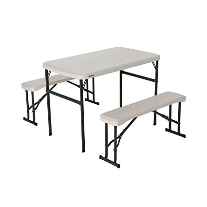 portable folding table lifetime 80373 portable folding picnic table and bench set, almond NHXZTTV