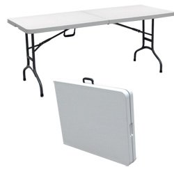 portable folding table palm springs folding portable camping / party table 6 ft white QBYWBRA