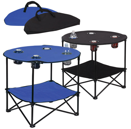 portable folding table picnic folding table w/ metal frame - 4 cup holders - ICBQGLP