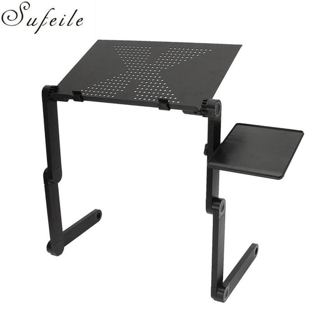 portable folding table sufeile aluminum laptop folding table computer desk stand for bed 360 QUCGQXW