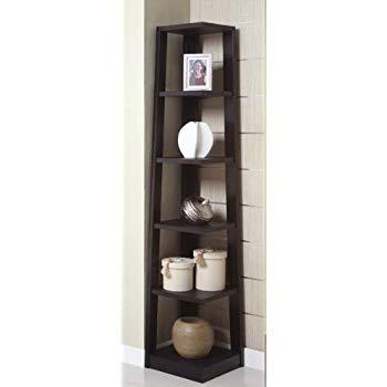 poundex corner bookshelf, black SXKUIIJ