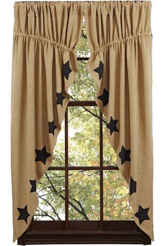 primitive curtains burlap natural black stencil star prairie curtain - retro barn country UNZKKWT