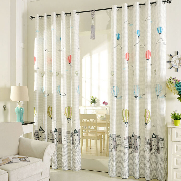 printed air balloon pattern beige poly/cotton blend kids curtains ZNTLVSX
