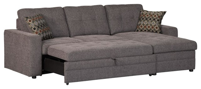 pull out couch casual dark gery gus sectional sofa with tufts storage pull out AAJEYDO