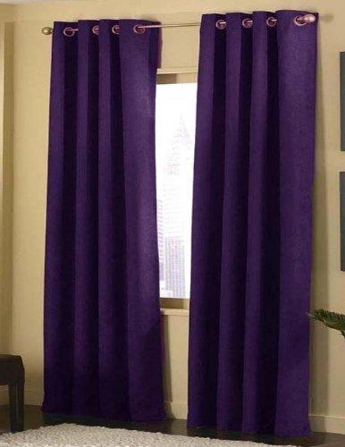 purple curtains 4 pices solid suede grommet top curtain/panel/drape purple JFCSKCP