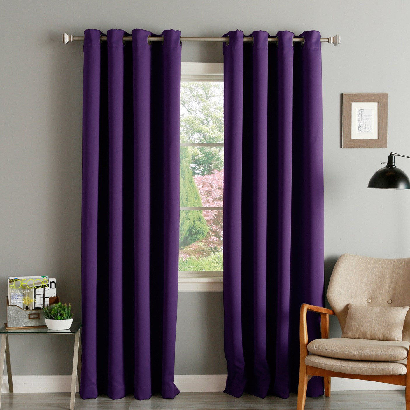 purple curtains aurora home thermal insulated blackout grommet top 84-inch curtain panel SUZVUOZ