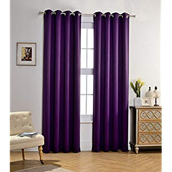 purple curtains mysky home solid grommet top thermal insulated window blackout curtains for DMKKCXY