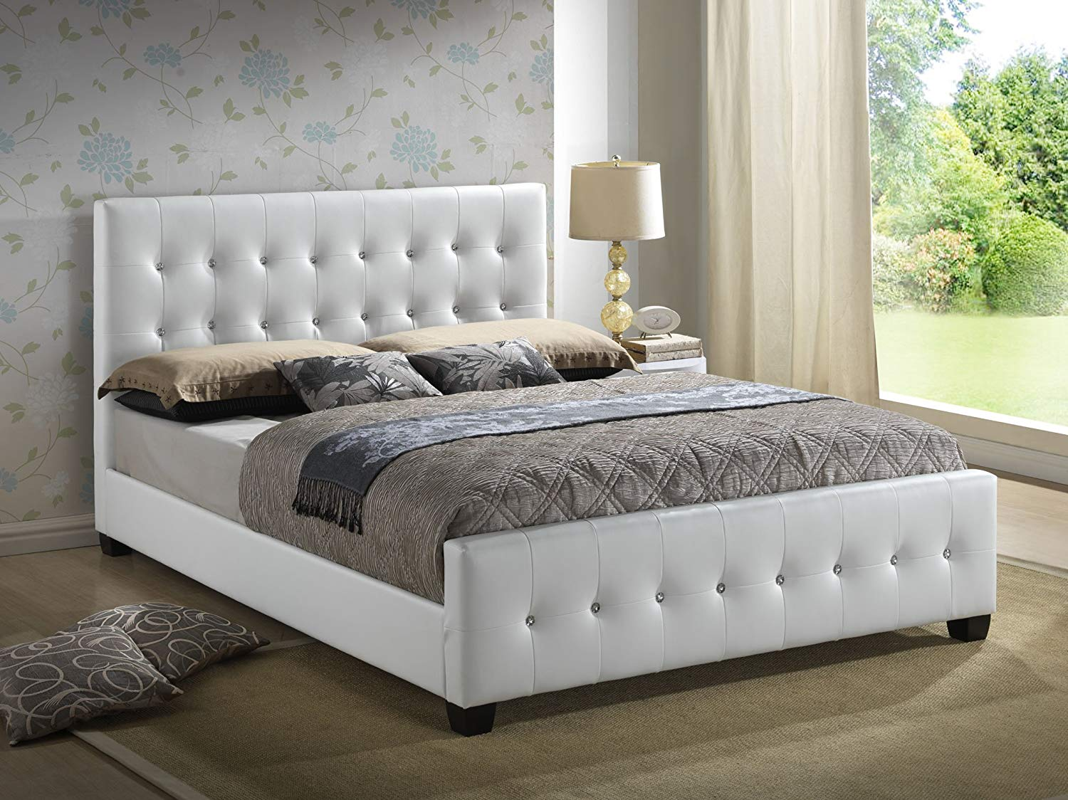 queen size beds amazon.com: white - queen size - modern headboard tufted leather look PXROMOT