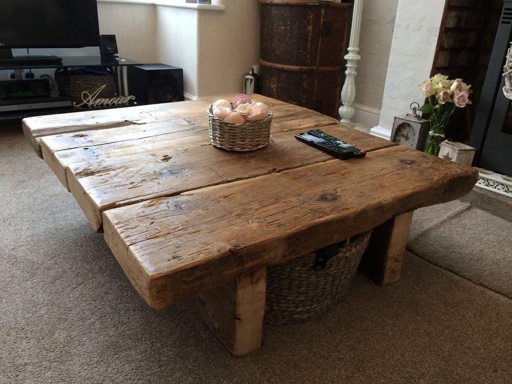 reclaimed pine coffee table - rustic furniture,railway sleeper,oak,shabby  chic in VFKTDIC