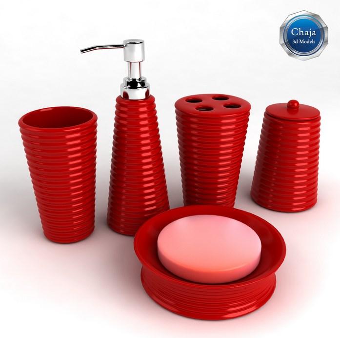 red bathroom accessories, gilded bird ceramic bath accessories FOLGBSW