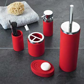 red bathroom accessories JOUIPEY