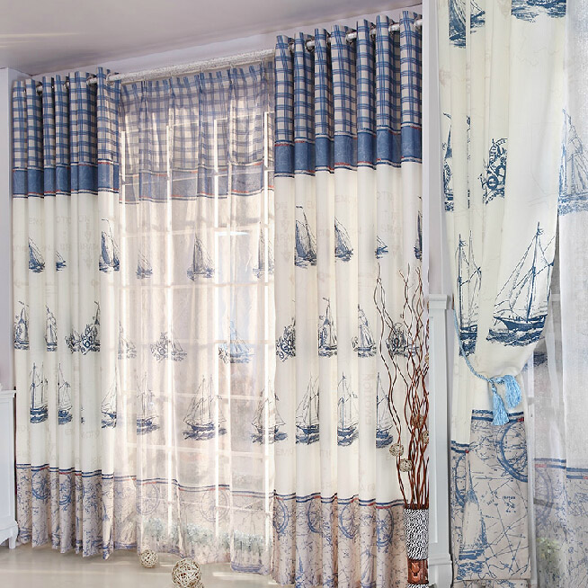 refreshing blue/white poly/cotton nautical curtains PNELTAS