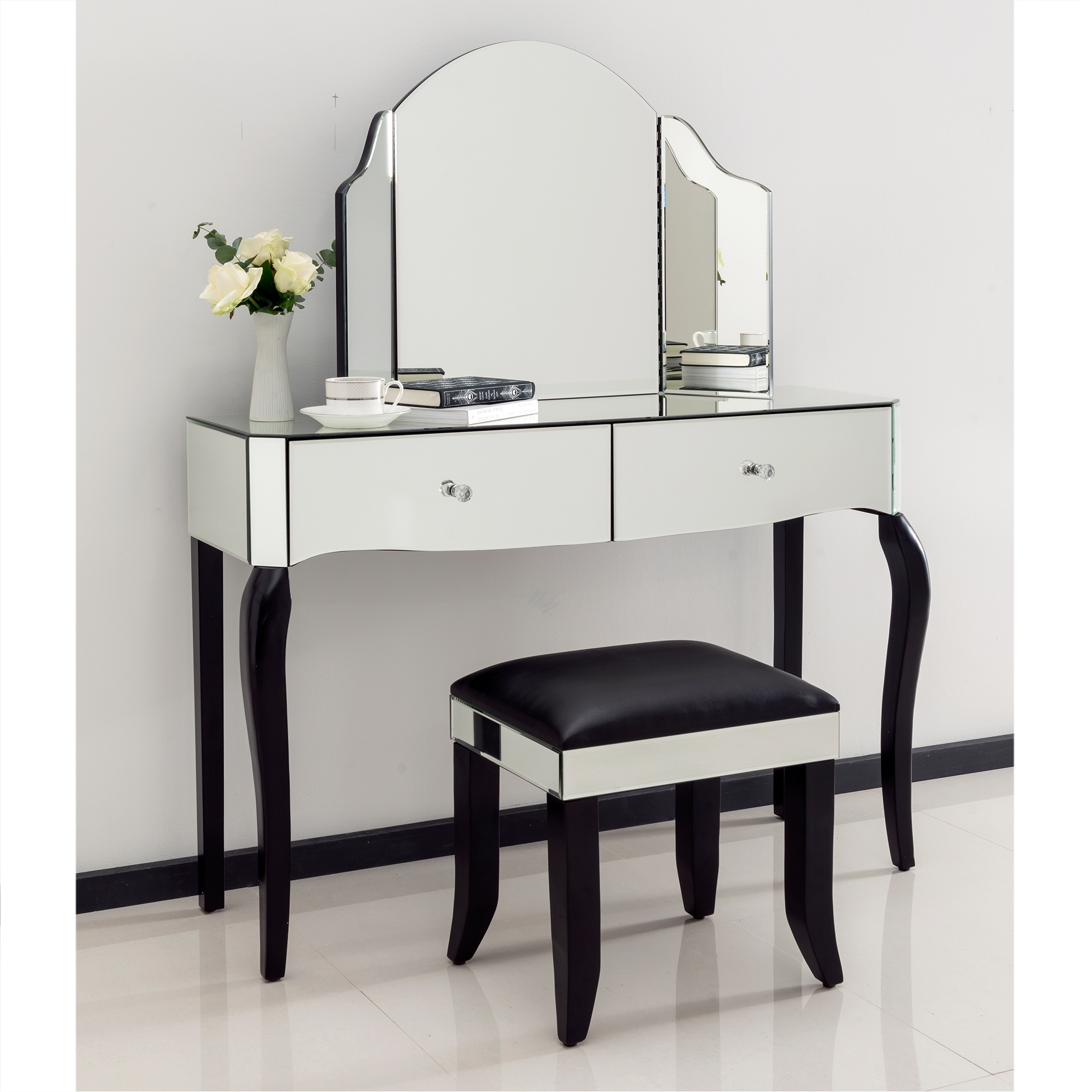 romano crystal mirrored dressing table set EYCJCMW