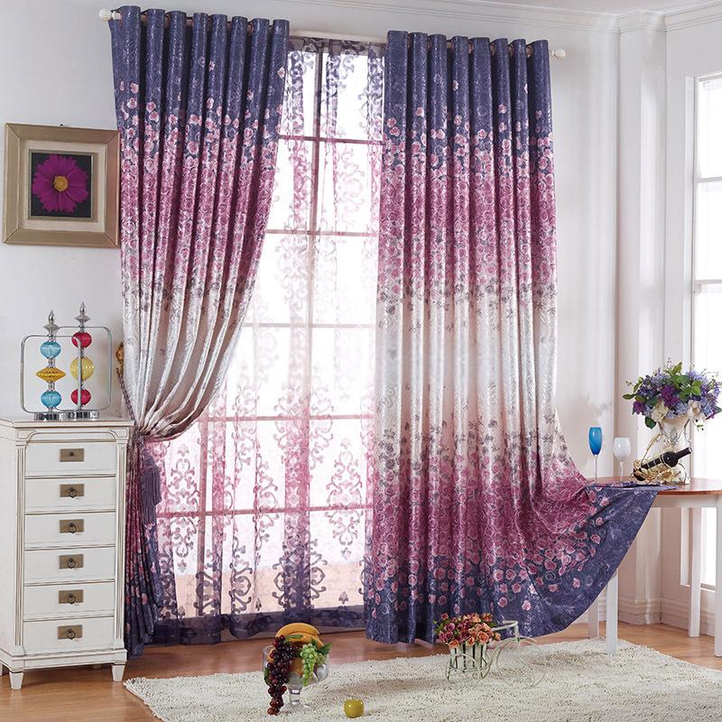 romantic flower patterns energy saving deep purple curtains ITABUNH