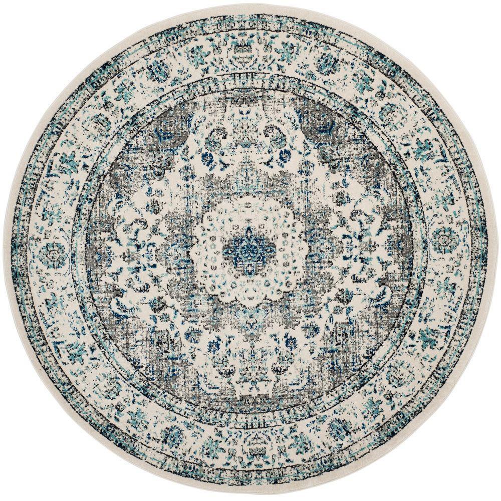 round area rugs safavieh evoke gray/ivory 7 ft. x 7 ft. round area rug ANVDDGL