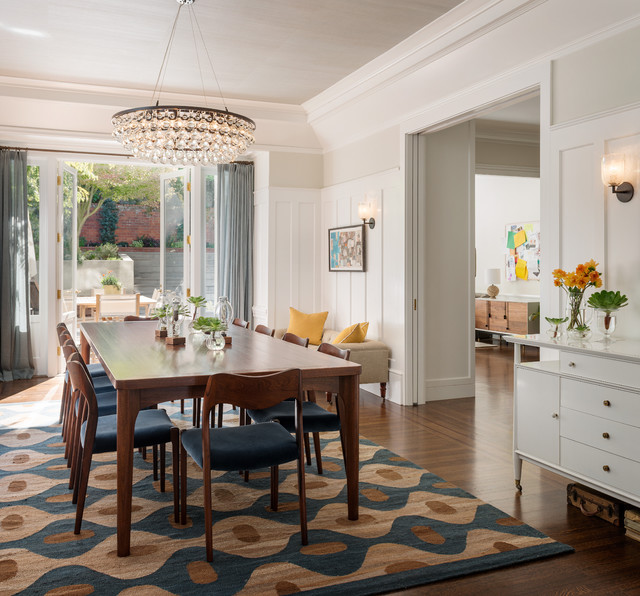 round rug under dining table transitional dining room by sutro architects NOOGWSH