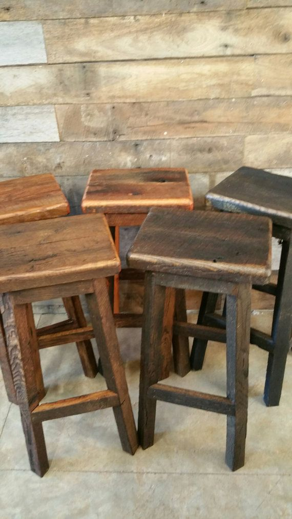 rustic bar stools reclaimed rectangle barn wood bar stool sealed or painted free shipping EIWYNNR