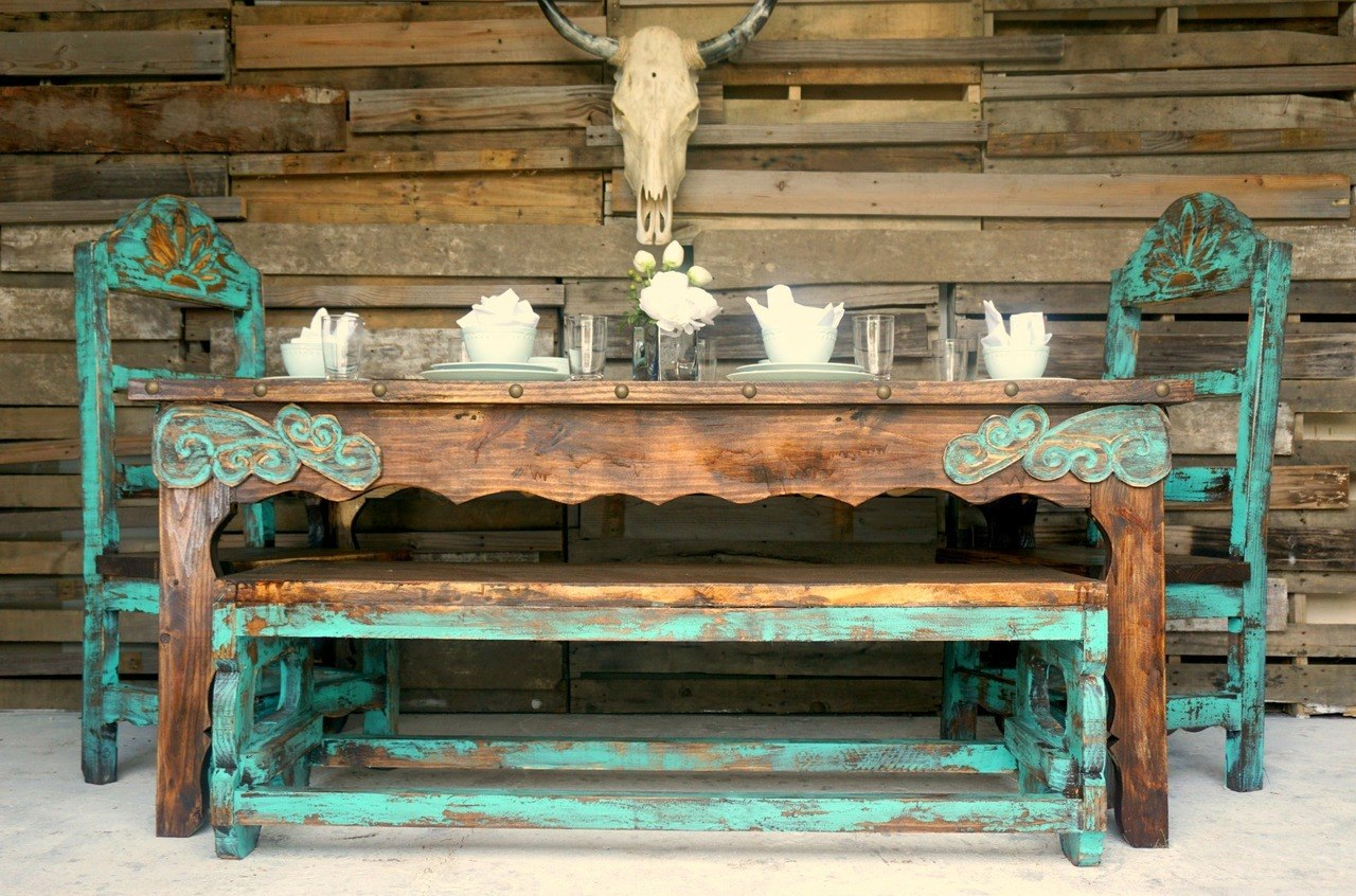 rustic furniture agave rustic dining table for 6 SSEDOUT