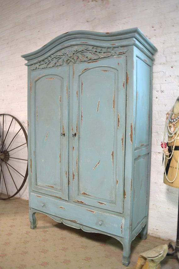 shabby chic wardrobe french armoire painted cottage chic shabby by paintedcottages AFQJMKJ