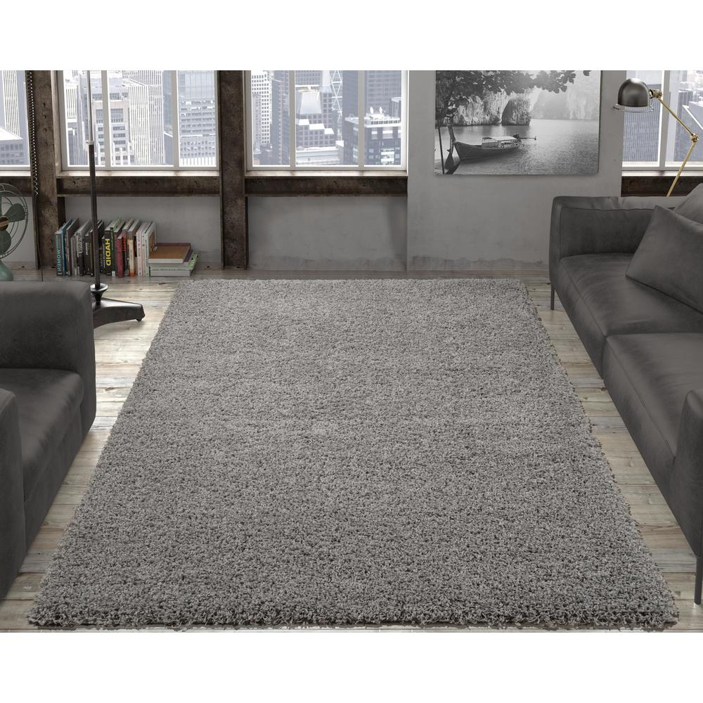 shag area rugs ottomanson contemporary solid grey 5 ft. x 7 ft. shag area BAWCUMX