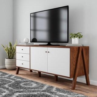 sideboard cabinet carson carrington eskilstuna mid-century modern white walnut wood sideboard  storage TPSZTUA