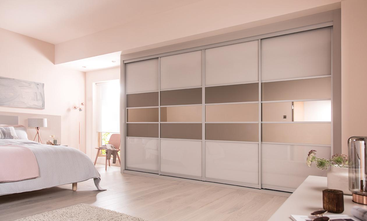 sliding wardrobe cashmere u0026 satin bronze glass with bronze mirror IYTJYTT