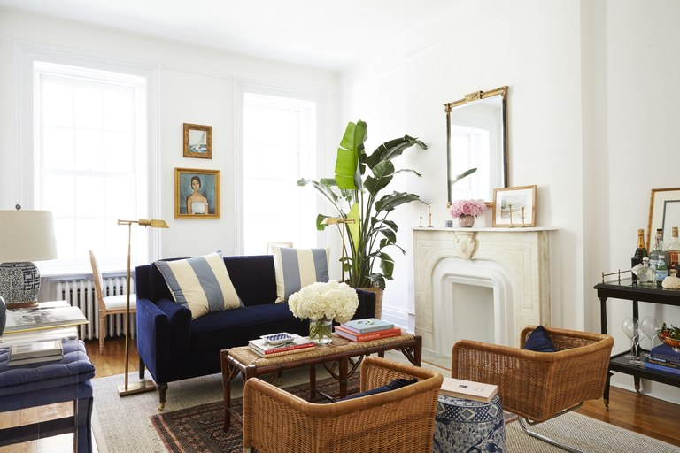 small living room furniture amy stoneu0027s brooklyn living room, featuring wicker chairs and a small ADBFHMF