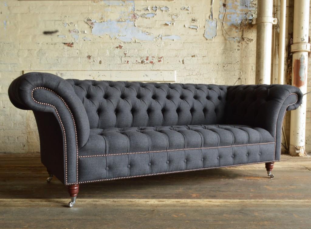 sofa chesterfield modern handmade grey herringbone nuvo wool chesterfield sofa AJXQDGL