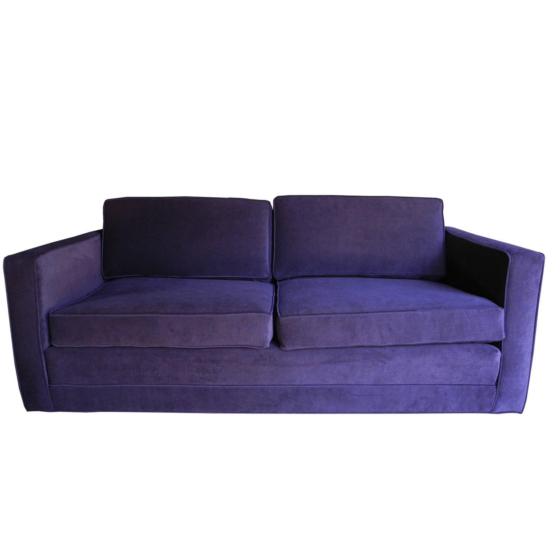 sofa settee mid-century modern purple velvet sofa / settee by charles pfister for QSHVNQY