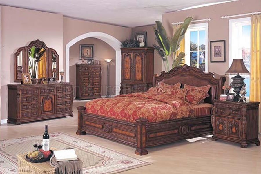 Solid Wood Bedroom Furniture Brown Finish Traditional Set Vpoujsx