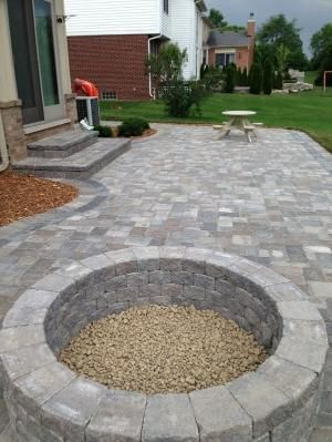 stone patio ideas stone patio with built in fire pit - patio ideas by JKYGECA