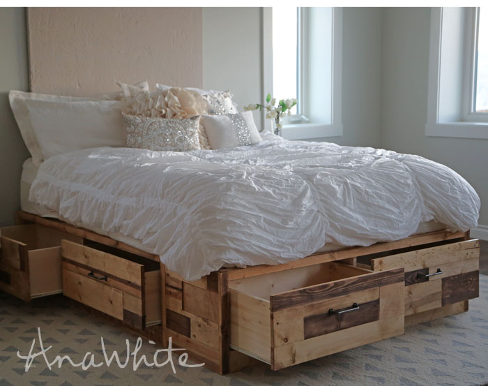 storage beds with drawers brandy scrap wood storage bed with drawers XPUCJZG