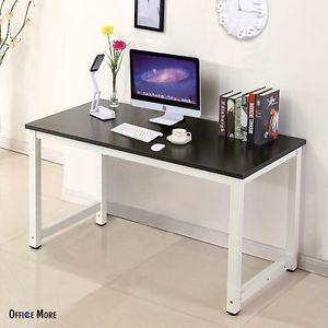 study desk image is loading wood-black-computer-desk-pc-laptop-table-workstation- ZJHGSHI