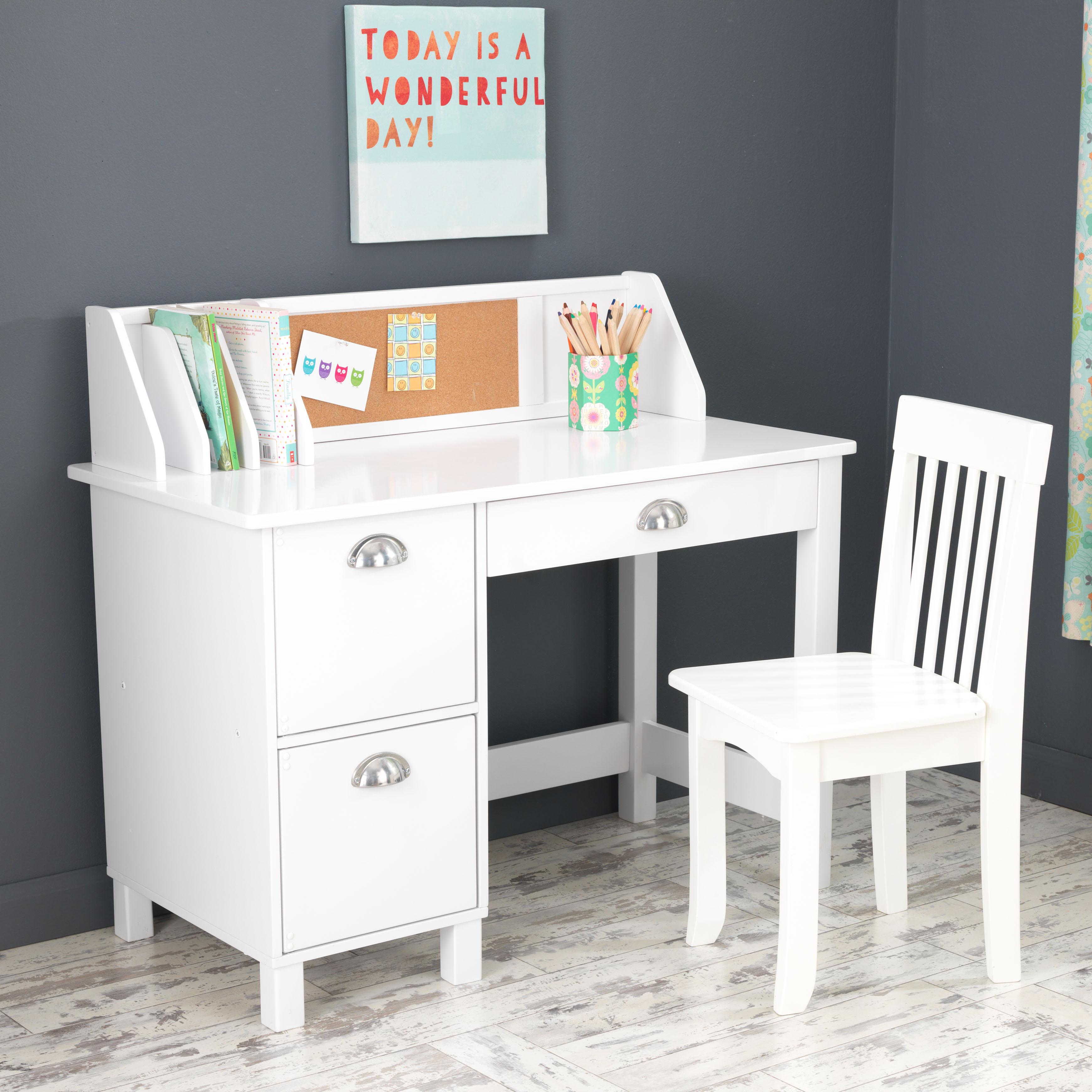 study desk kidkraft kids desk with chair and corkboard, white or espresso PWYQXAC