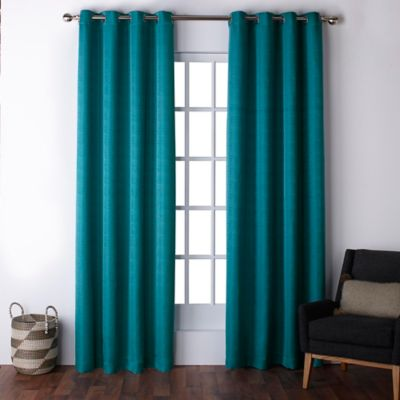 teal curtains exclusive home firenze 96-inch grommet top window curtain panel pair in XDPDLBJ