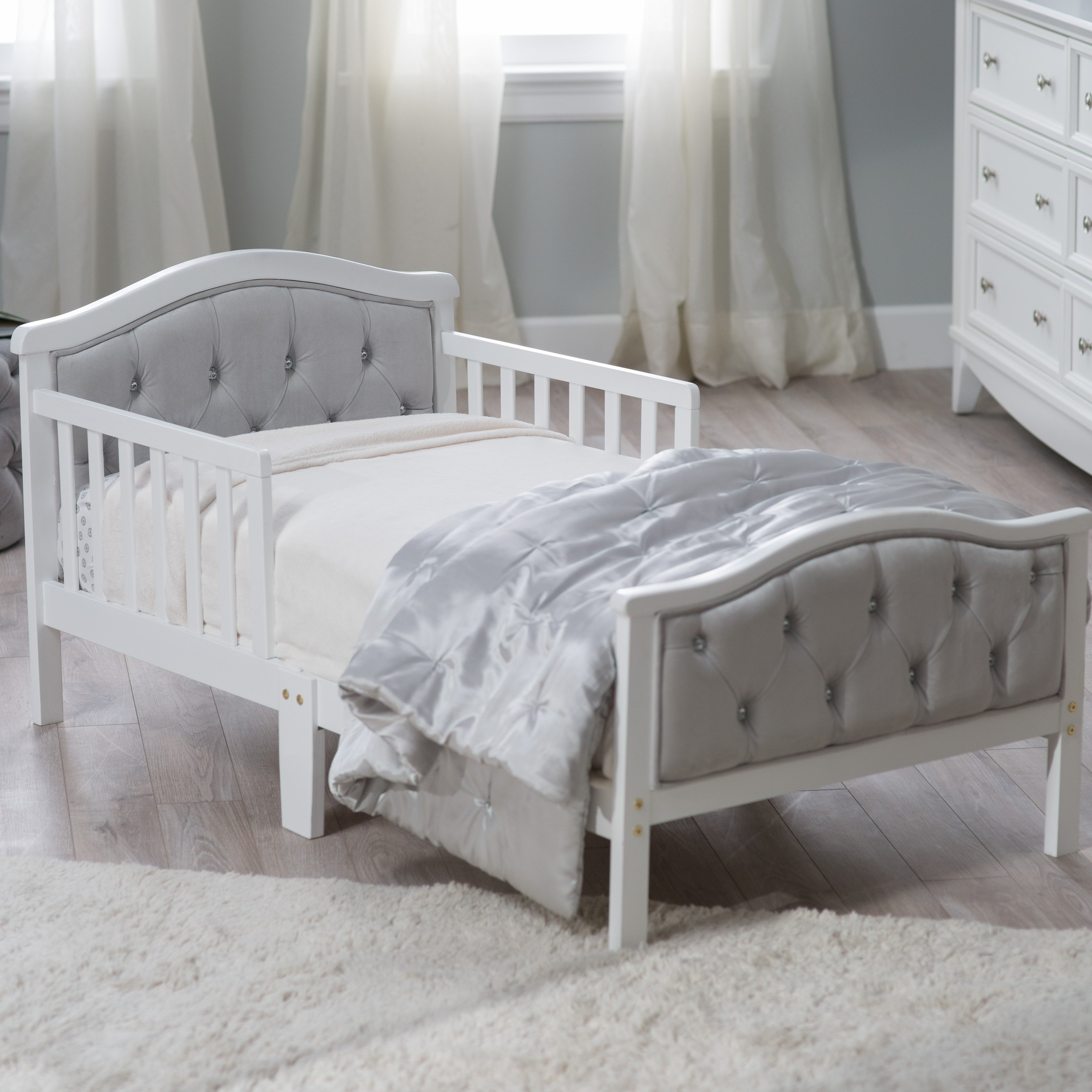 toddler beds orbelle upholstered toddler bed - gray/french white | hayneedle IQVWKYP