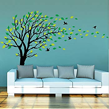 tree wall stickers large dark and green tree blowing in the wind tree wall XDBVSHB
