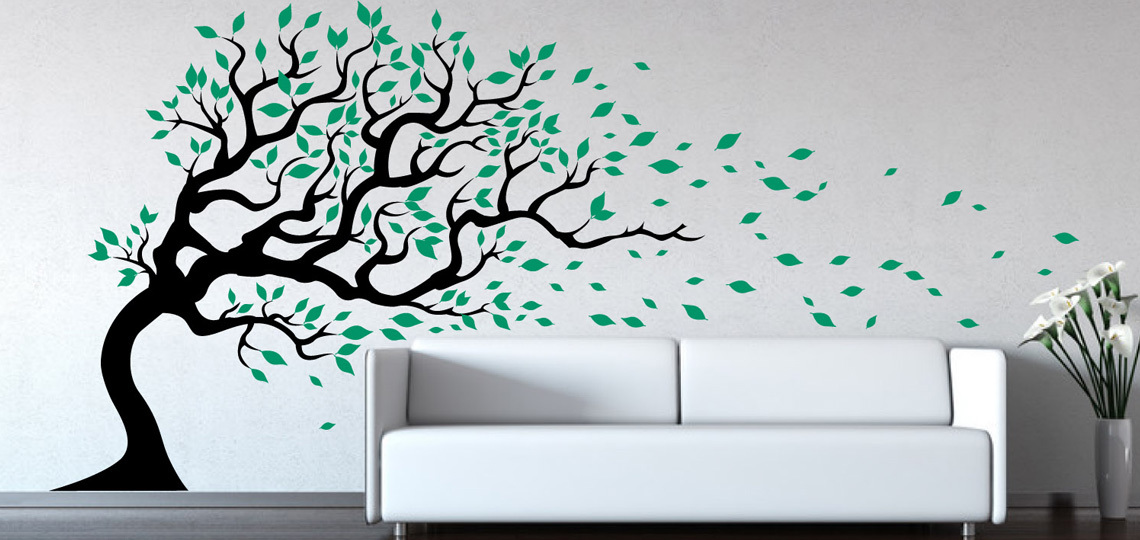 tree wall stickers tall tree wall decal - wind blowing flying leaves - large GOOCDCP