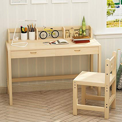 tribesigns unfinished kids study desk and chair set with hutch, height LMIYCKL