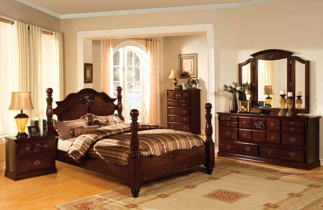tuscan ii classic traditional poster bed dark pine bedroom furniture set JQWPBHH