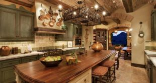 tuscan kitchen style tuscan kitchen with sage cabinets and brick ceiling HBQJKTX
