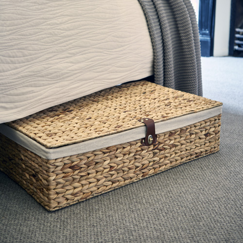 under bed storage underbed water hyacinth basket with cotton lining and leather fasten HVCNMTI