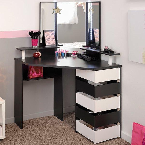 vanity desk parisot volage makeup vanity with mirror u0026 reviews | wayfair NJKKTRV