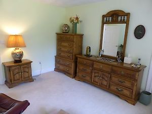 vintage bedroom furniture image is loading 6-piece-american-drew-solid-oak-wood-bedroom- VWIFIEJ