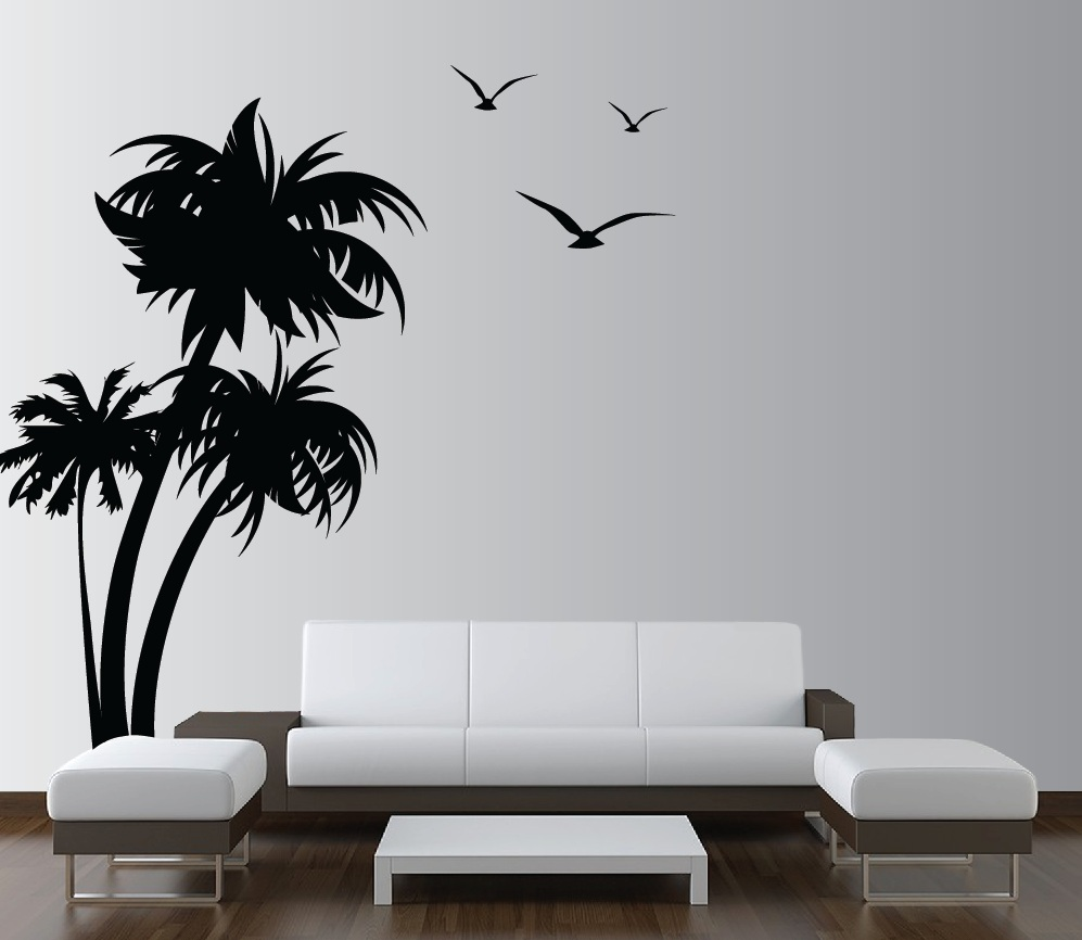 vinyl wall decals palm-trees-vinyl-wall-decal-with-seagulls-1132. RZSCFWF